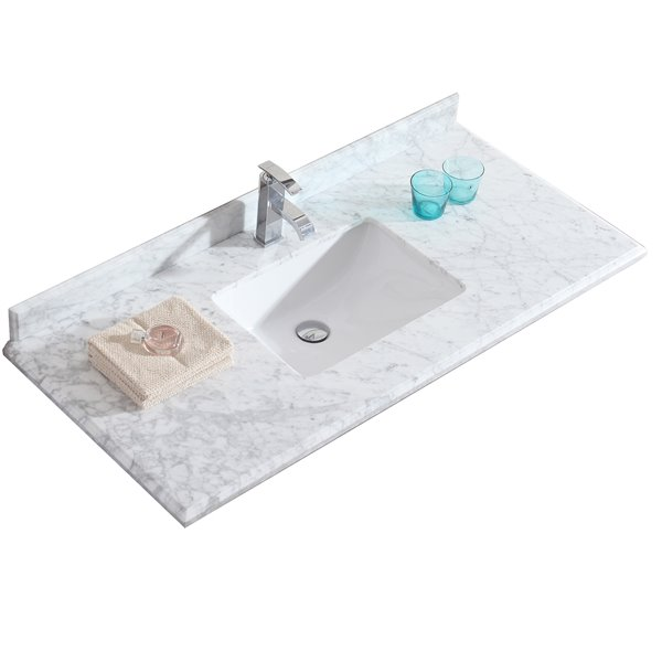 GEF Comptoir vanité de salle de bain, 49 po. Carrara marbre