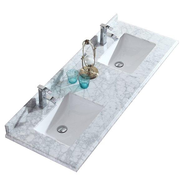 GEF Comptoir vanité de salle de bain, 61 po. Carrara marbre