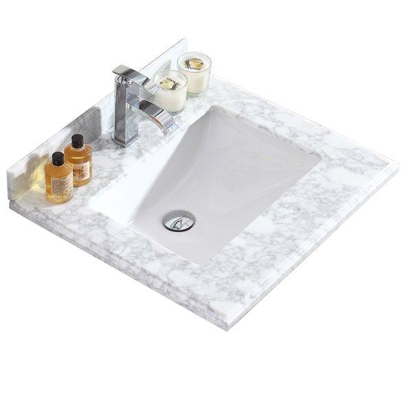 GEF Bathroom Vanity Countertop, 25-in Carrara Marble