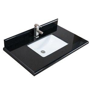 Comptoir de vanité GEF , 37 po noir en granite