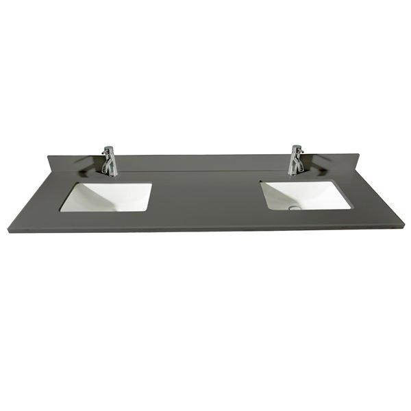 GEF Bathroom Vanity Countertop, 73-in Calypso Grey Quartz