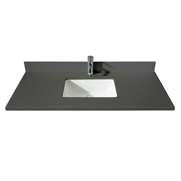 GEF Comptoir vanité de salle de bain, 49 po. Calypso en quartz gris