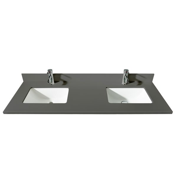 GEF Bathroom Vanity Countertop, 61-in Calypso Grey Quartz