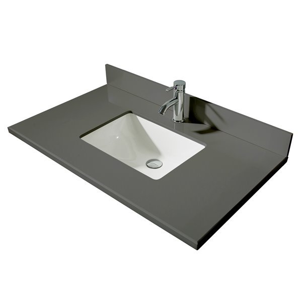 GEF Bathroom Vanity Countertop, 37-in Calypso Grey Quartz