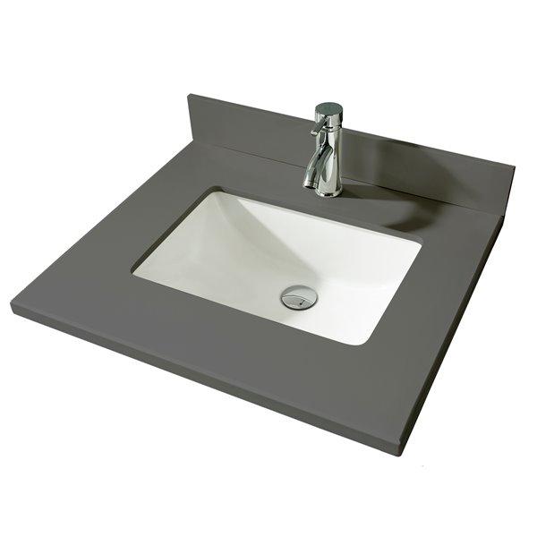 GEF Bathroom Vanity Countertop, 25-in Calypso Grey Quartz