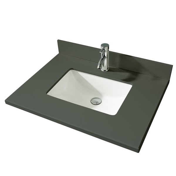 GEF Bathroom Vanity Countertop, 31-in Calypso Grey Quartz