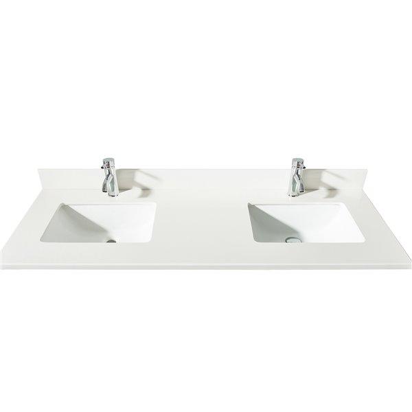 GEF Comptoir vanité de salle de bain, 61 po.Quartz blanc neige