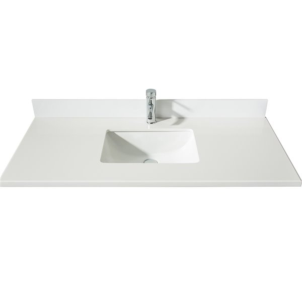 GEF Bathroom Vanity Countertop, 49-in  Snow White Quartz