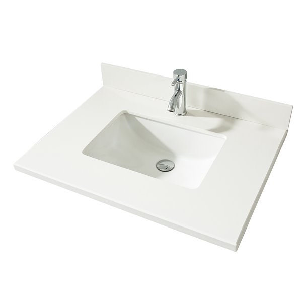GEF Bathroom Vanity Countertop, 31-in  Snow White Quartz