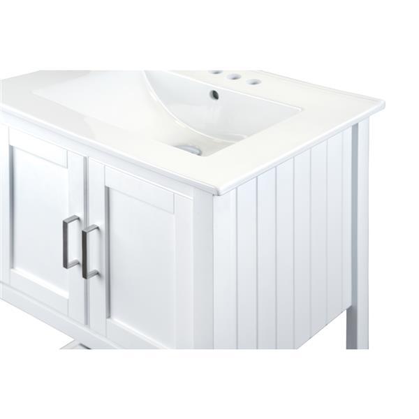 GEF Meuble-lavabo Lena avec comptoir en porcelaine, 24 po blanc