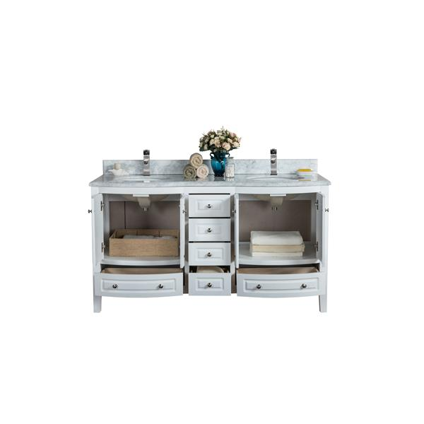 GEF Meuble-lavabo Adelyn avec comptoir en marbre , 60 po. blanc