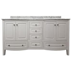 GEF Adelyn 60-in White Double Sink Bathroom Vanity with Marble Countertop