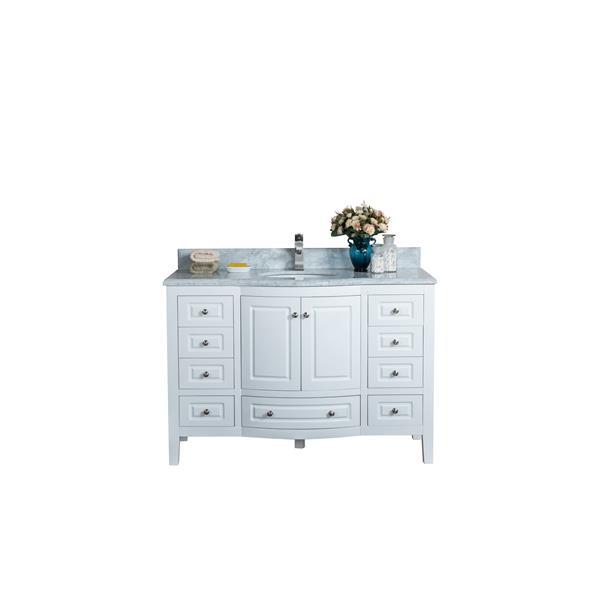 GEF Meuble-lavabo Adelyn avec comptoir en marbre , 48 po. blanc