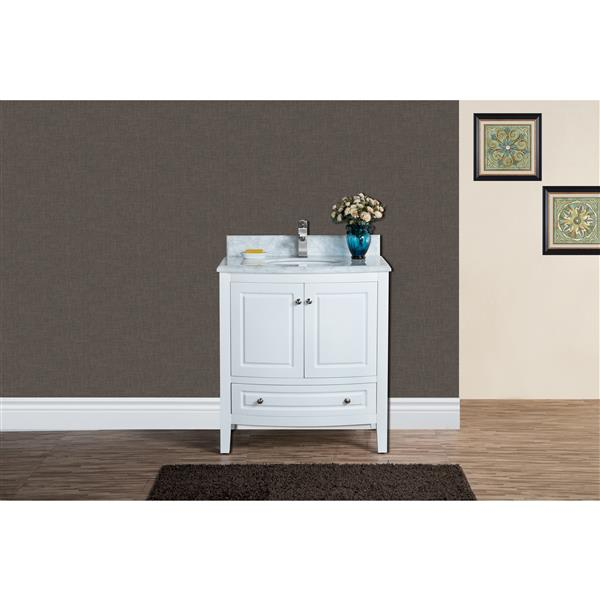 GEF Adelyn Vanity with Carrara Marble Top, 30-in White