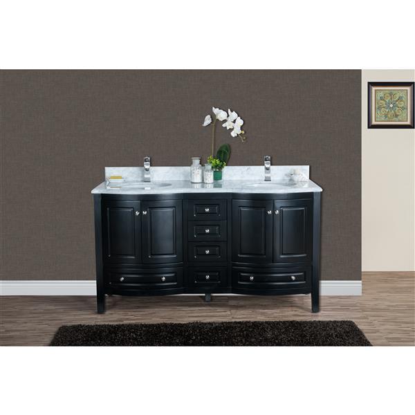 GEF Meuble-lavabo Adelyn avec comptoir en marbre , 60 po. espresso