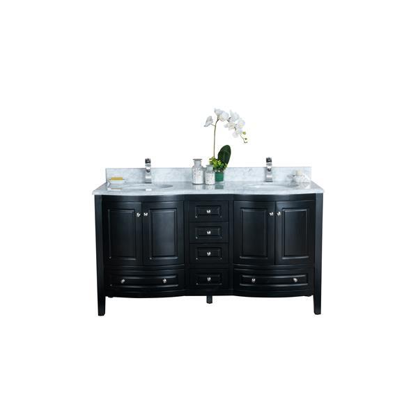 GEF Adelyn Vanity with Carrara Marble Top, 60-in Espresso