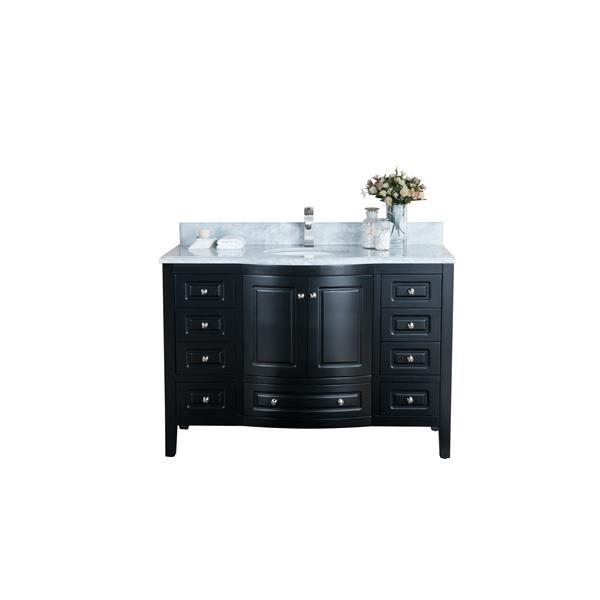 GEF Meuble-lavabo Adelyn avec comptoir en marbre , 48 po. espresso
