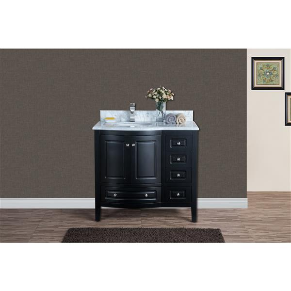 GEF Adelyn Vanity with Carrara Marble Top, 36-in Espresso