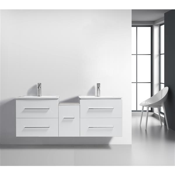 GE Hadley Vanity with Porcelain Top, 60-in White