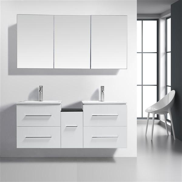 GEF Meuble-lavabo Hadley  avec comptoir Porcelaine , 60 po. blanc