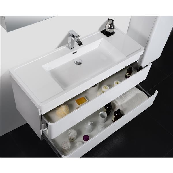 GEF Meuble-lavabo Scarlett avec comptoir acrylique , 48 po. blanc