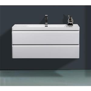 GEF Scarlett 48-in White Single Sink Bathroom Vanity with Acrylic Top