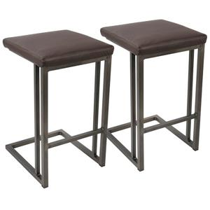 Roman Industrial Counter Stool with Antique Frame (Set of 2)