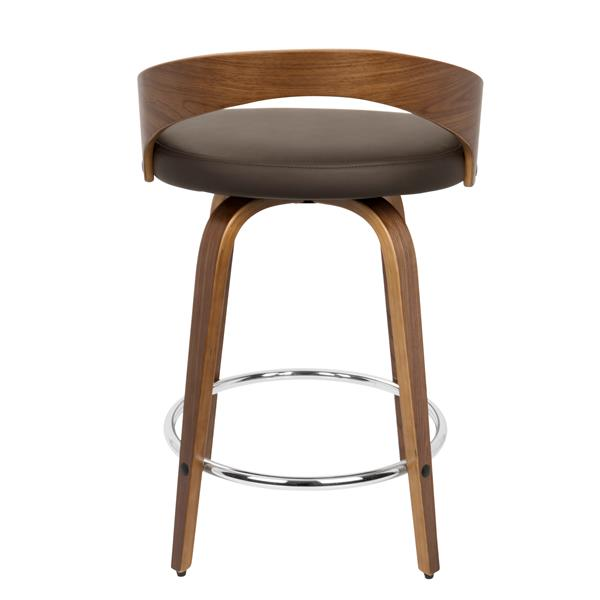 Lumisource Grotto Mid-Century Modern Walnut Counter Stool