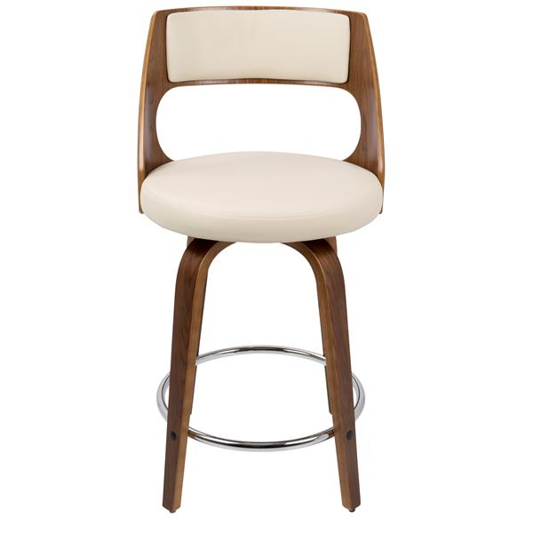 Lumisource Walnut and Cream Faux Leather Cecina Counter Stool
