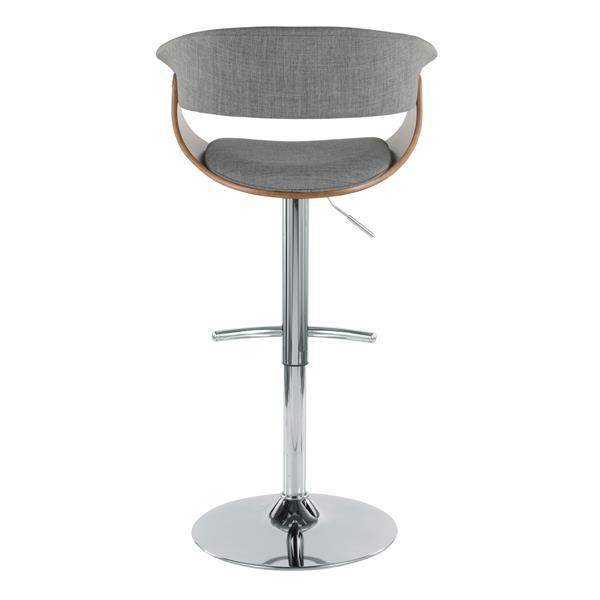 Lumisource Vintage Mod Grey Adjustable Modern Bar Stool