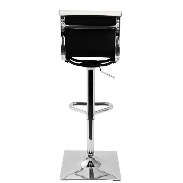 Lumisource Masters Faux Leather White and Chrome Barstool