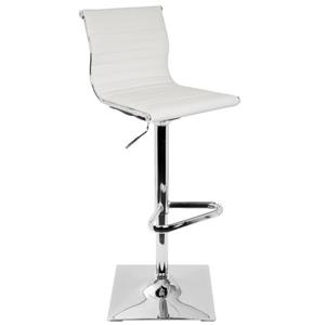 Masters Faux Leather White and Chrome Barstool