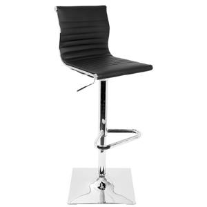 Masters Faux Leather Black and Chrome Barstool