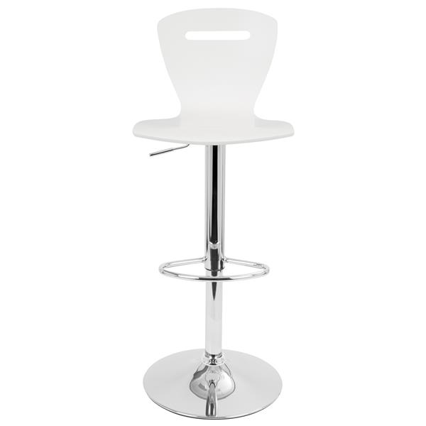Lumisource H2 Adjustable Contemporary White Barstool