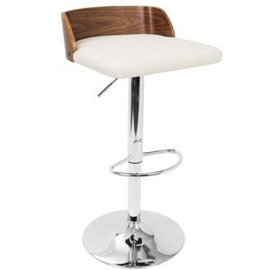 Maya Wooden Back Walnut and Cream Barstool