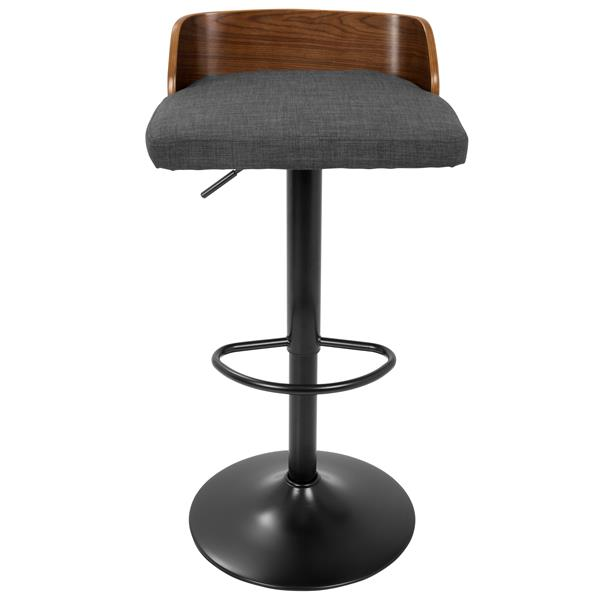 Lumisource Maya Wooden Back Walnut and Charcoal Barstool