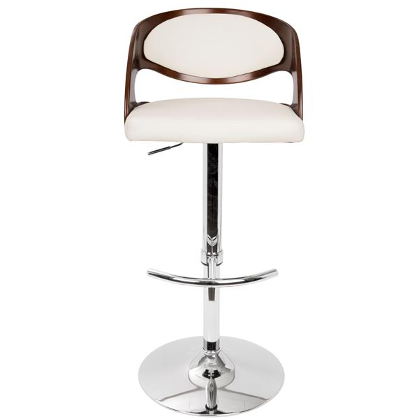 Lumisource Pino White Cushioned Seat Barstool