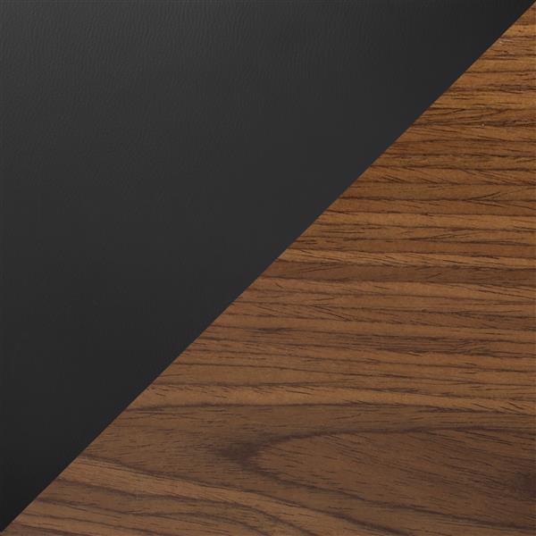 Lumisource Lombardi Adjustable Walnut and Black Barstool
