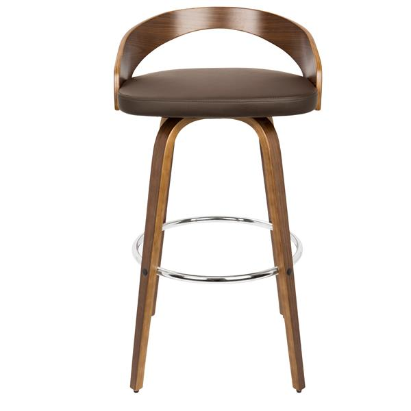 Lumisource Grotto Walnut and Brown Rounded Legs Barstool