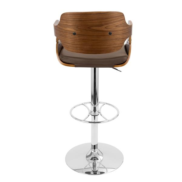 Lumisource Fiore Walnut and Brown Adjustable Barstool