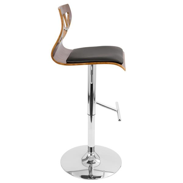 Lumisource Fiore Walnut and Black Designed Backrest Barstool