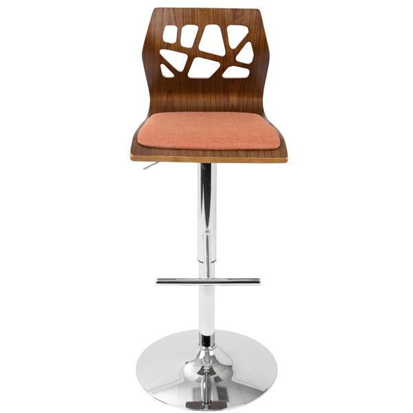 Fine Lumisource Fiore Walnut And Orange Designed Backrest Caraccident5 Cool Chair Designs And Ideas Caraccident5Info