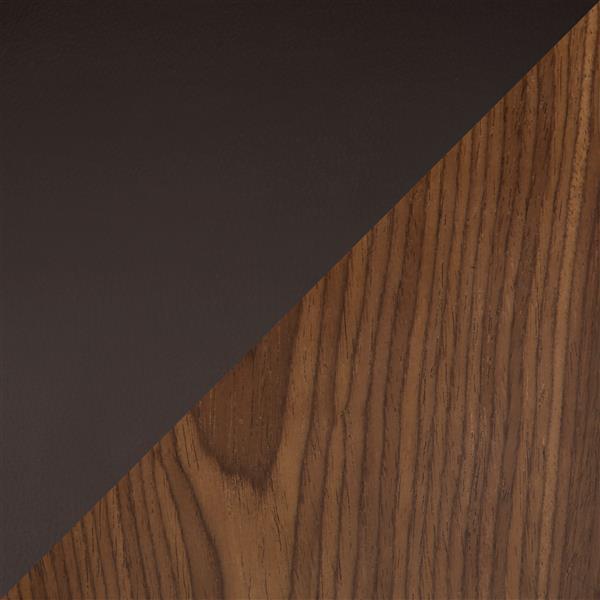 Tabouret de bar Cecina, noyer et similicuir brun