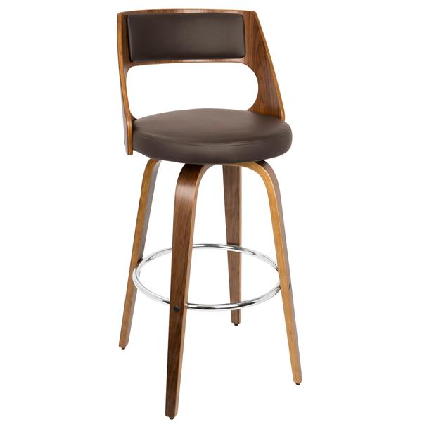 Lumisource Walnut and Brown Faux Leather Cecina Bar Stool