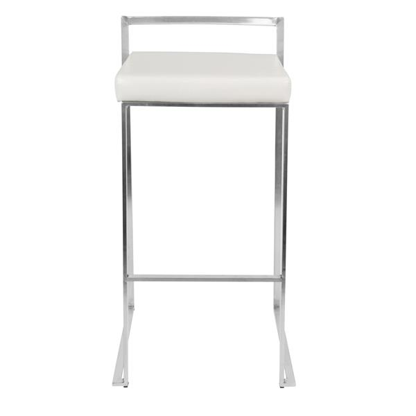 Lumisource Fuji Stacker Chrome and White Barstool (Set of 2)