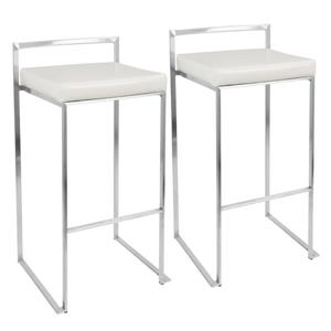 Tabourets empilables Fuji, blanc et chrome, ensemble de 2
