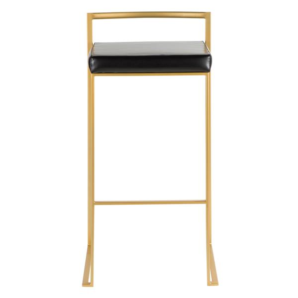 Lumisource Fuji Stacker Gold and Black Barstool (Set of 2)