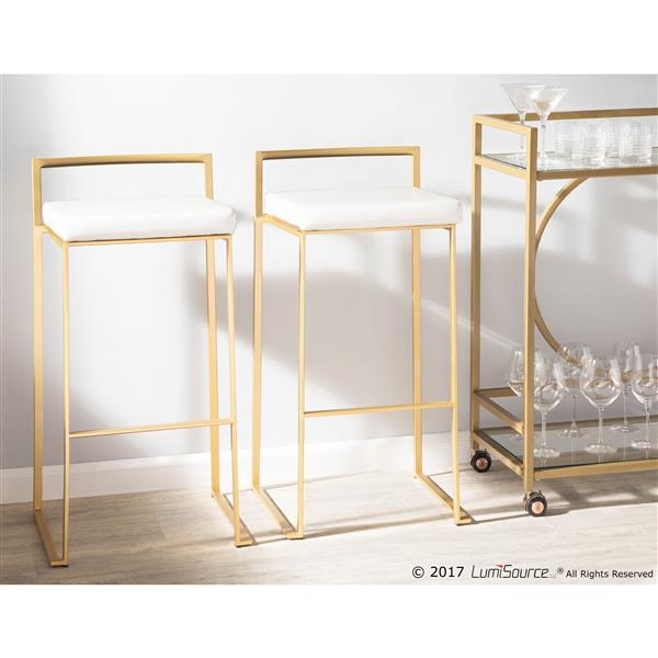 Lumisource Fuji Stacker Gold and White Barstool (Set of 2)