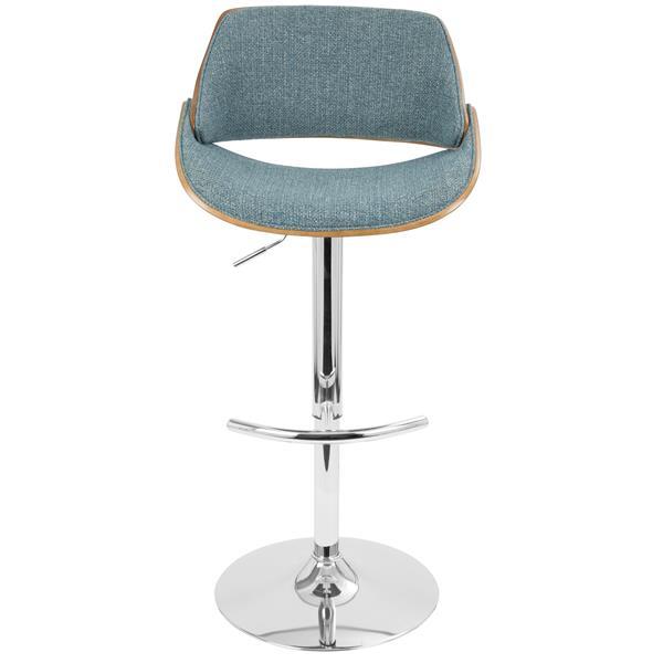 Lumisource Fabrizzi Walnut and Blue Open Backrest Barstool