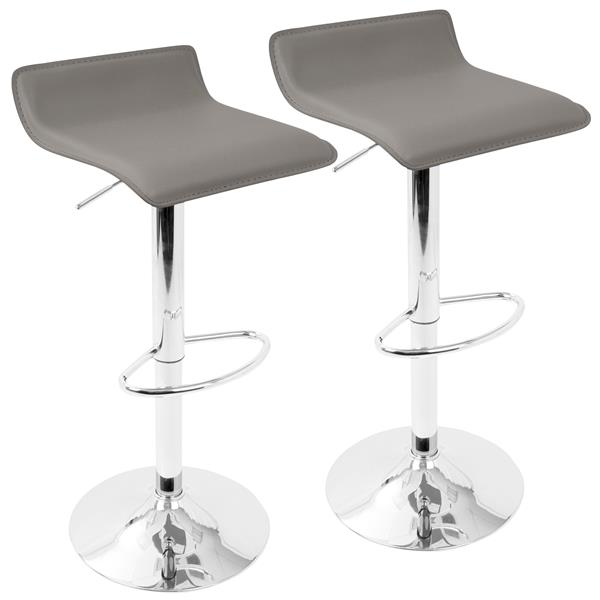 Lumisource Grey Ale Adjustable Contemporary Bar Stool (Set of 2)